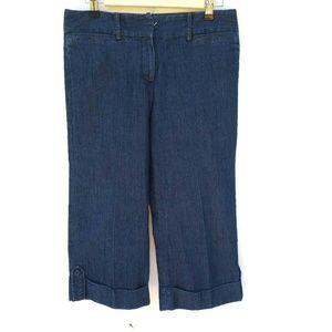 New Direction Womens Capri Size 4 Blue Jean Cuffed